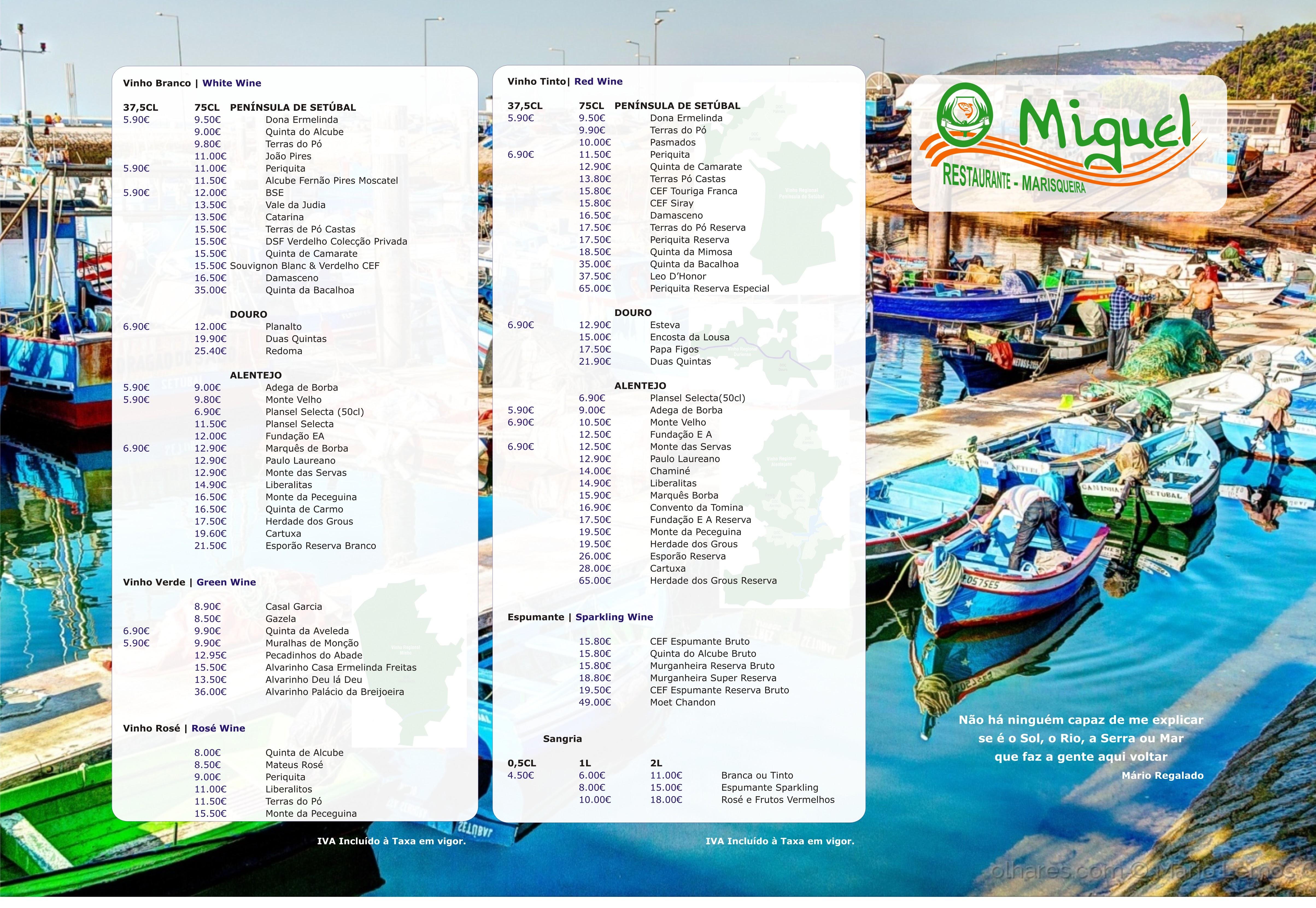 Ementa Restaurante - O Miguel